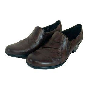 Clarks Partridge Brown Leather Pull On Shoes